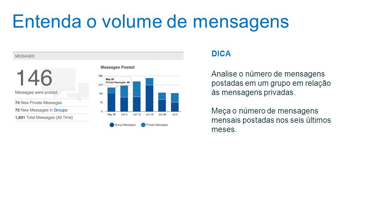 Entenda o volume de mensagens DICA Analise o número de mensagens postadas em um grupo em relação às mensagens privadas. Meça o número de mensagens men