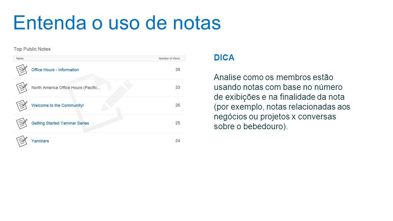 Entenda o uso de notas DICA Analise como os membros estão usando notas com base no número de exibições e na finalidade da nota (por exemplo, notas rel