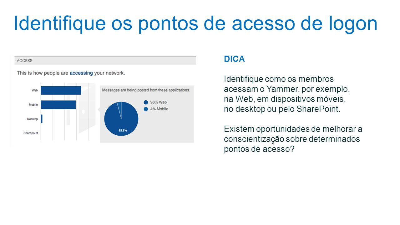 Identifique os pontos de acesso de logon DICA Identifique como os membros acessam o Yammer, por exemplo, na Web, em dispositivos móveis, no desktop ou
