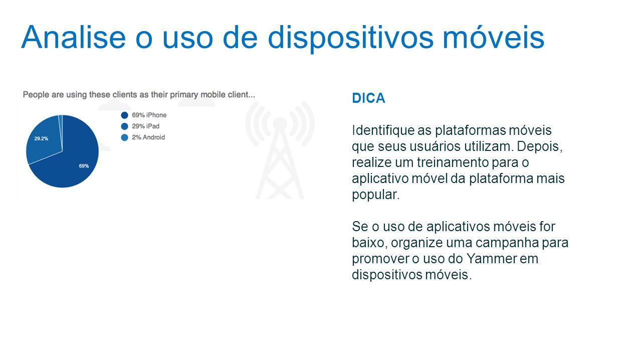 Analise o uso de dispositivos móveis DICA Identifique as plataformas móveis que seus usuários utilizam. Depois, realize um treinamento para o aplicati