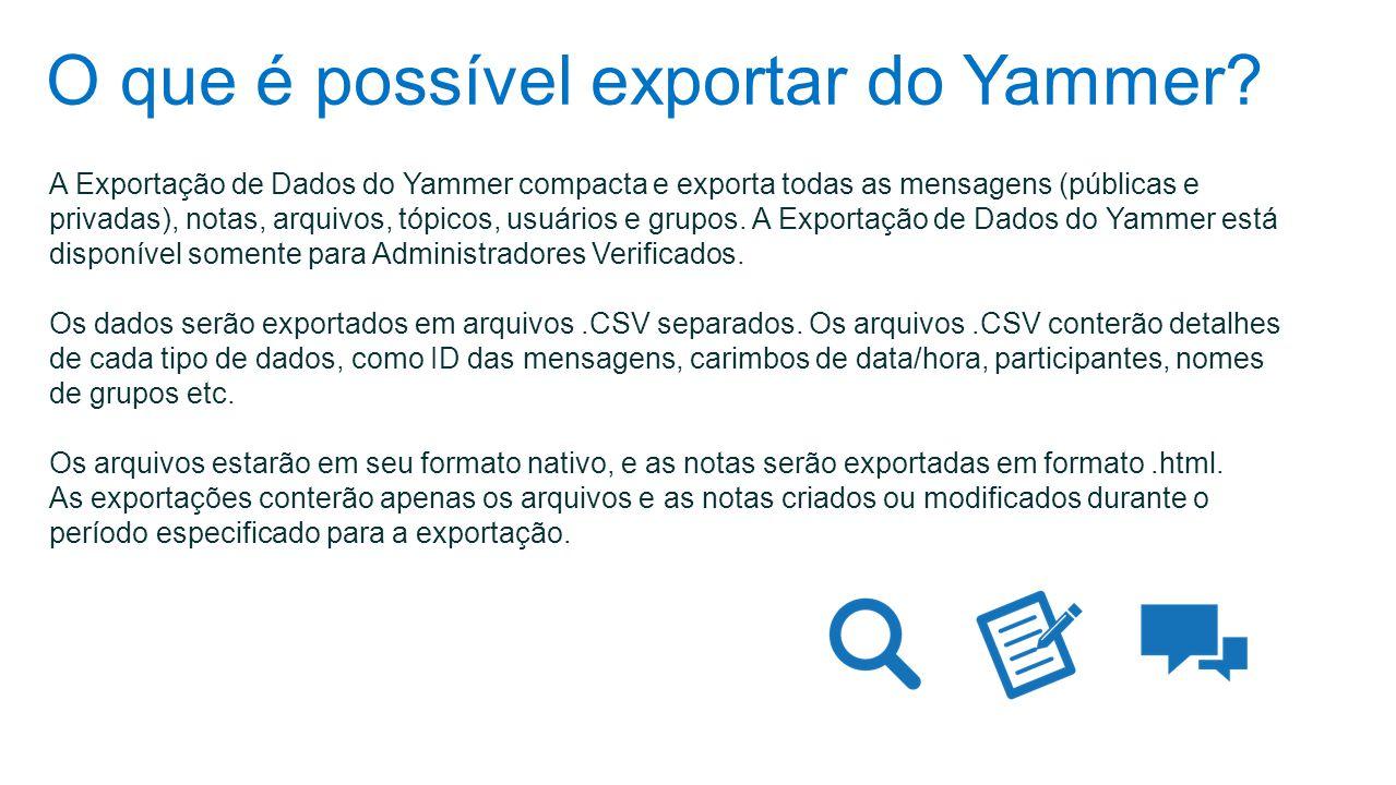 O que é possível exportar do Yammer? A Exportação de Dados do Yammer compacta e exporta todas as mensagens (públicas e privadas), notas, arquivos, tóp