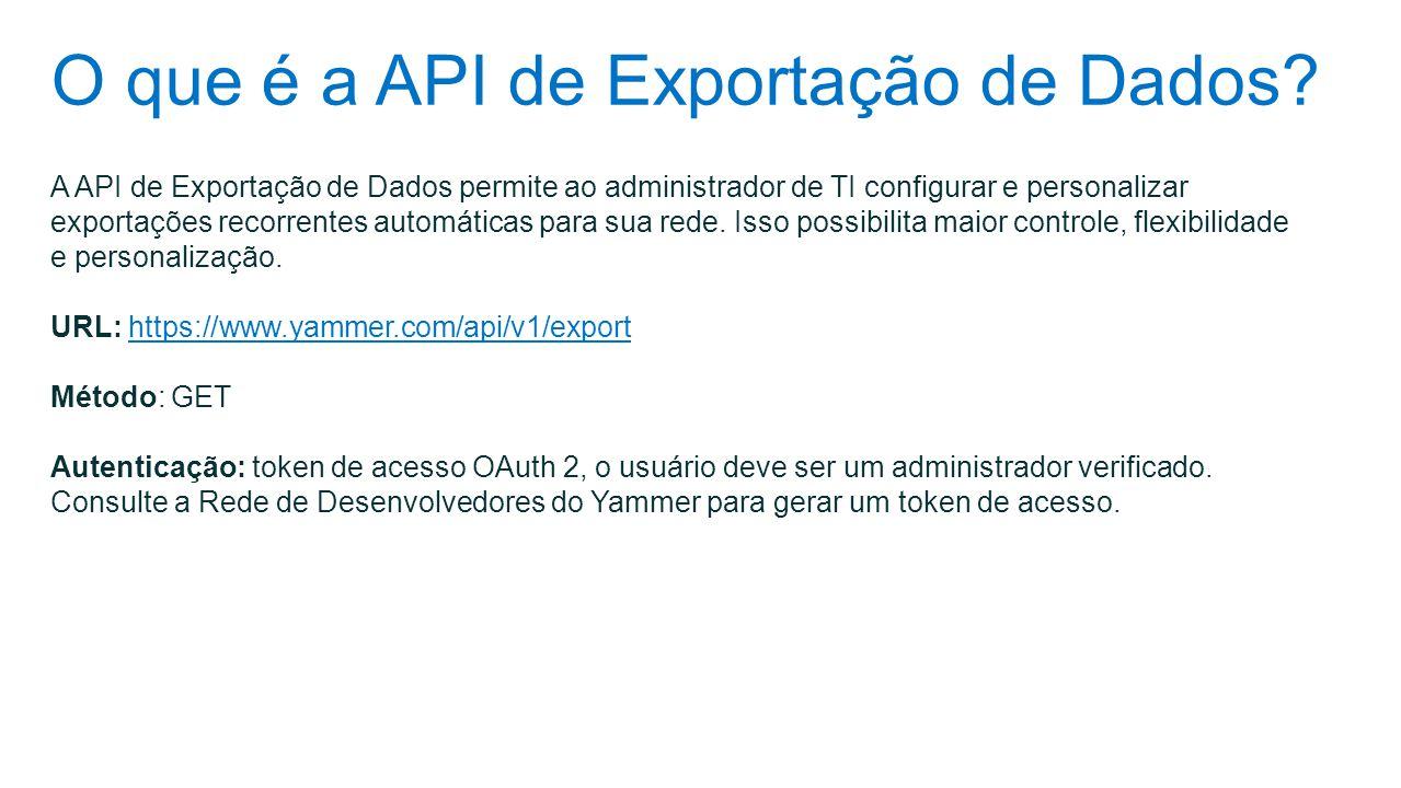 O que é a API de Exportação de Dados? A API de Exportação de Dados permite ao administrador de TI configurar e personalizar exportações recorrentes au