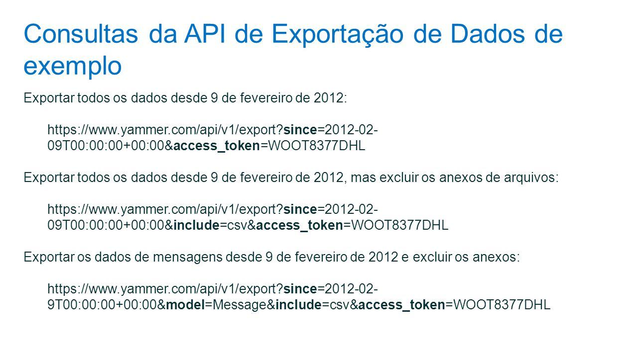 Consultas da API de Exportação de Dados de exemplo Exportar todos os dados desde 9 de fevereiro de 2012: https://www.yammer.com/api/v1/export?since=20