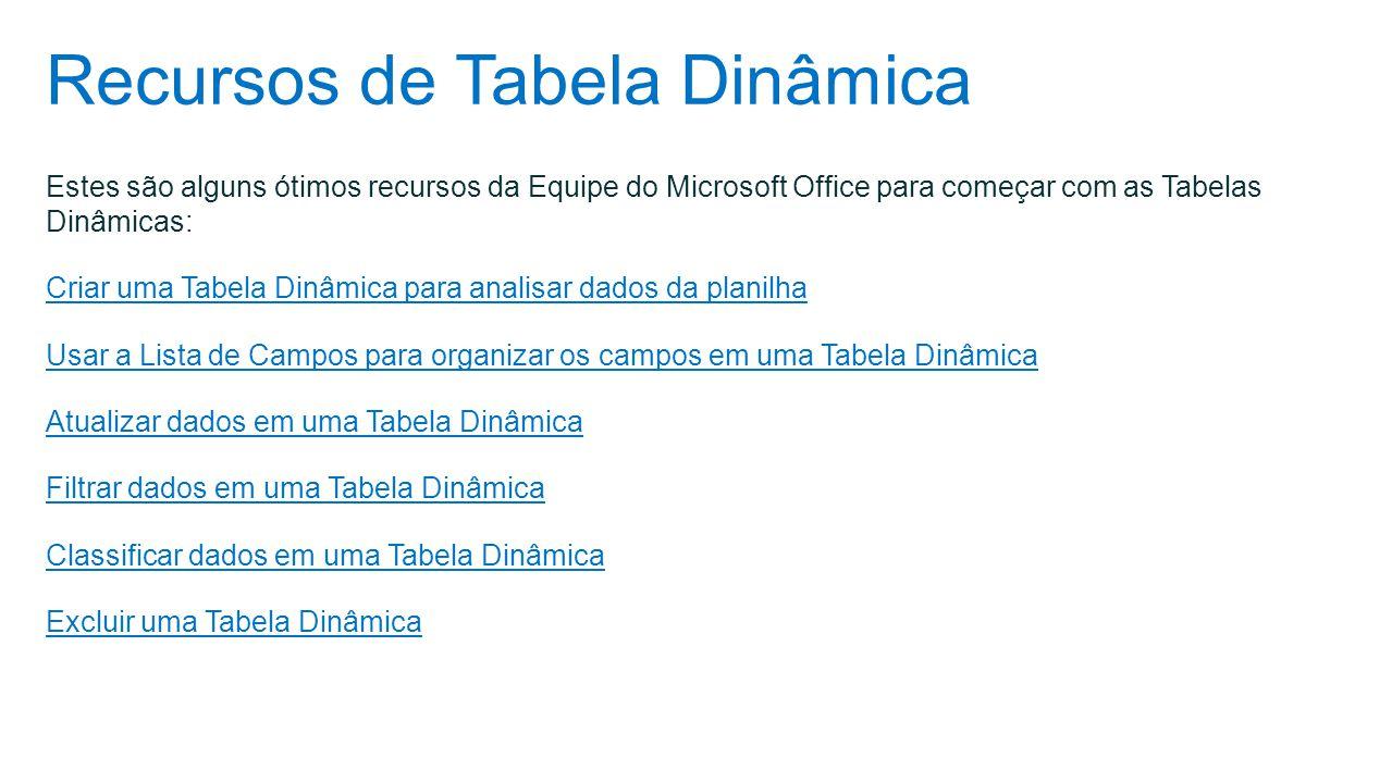 Recursos de Tabela Dinâmica Estes são alguns ótimos recursos da Equipe do Microsoft Office para começar com as Tabelas Dinâmicas: Criar uma Tabela Din