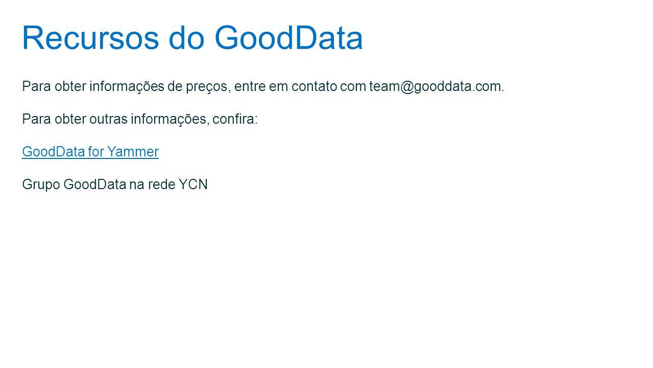 Recursos do GoodData Para obter informações de preços, entre em contato com team@gooddata.com. Para obter outras informações, confira: GoodData for Ya