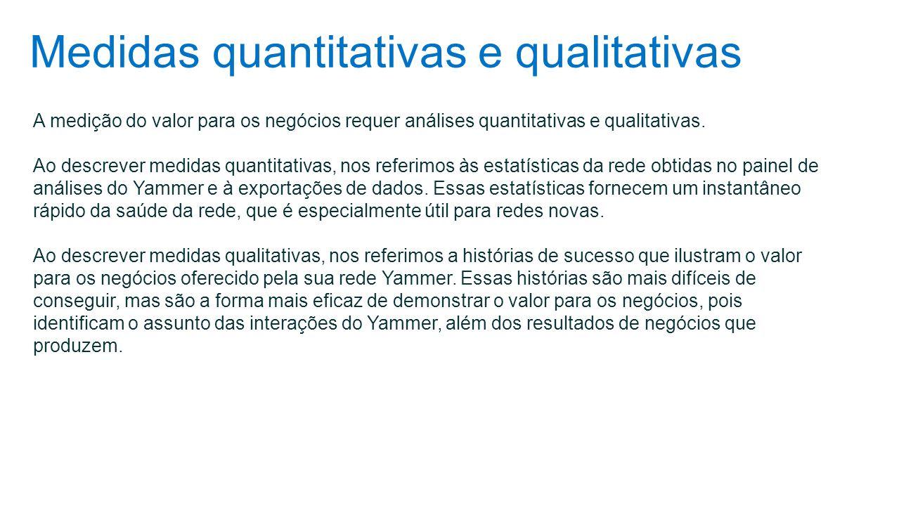 Medidas quantitativas e qualitativas A medição do valor para os negócios requer análises quantitativas e qualitativas. Ao descrever medidas quantitati