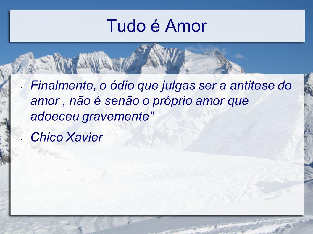 Tudo é Amor Indiferença: É o amor que se esconde Paixão: É o amor que se desiquilibra Ciume: É o amor que desvaira Egoismo: É o amor que animaliza Orgulho: É o amor que envenena Vaidade; É o amor que embriaga.