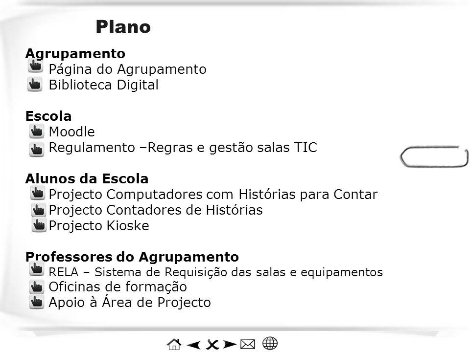 Plano Agrupamento Página do Agrupamento Biblioteca Digital Escola Moodle Regulamento –Regras e gestão salas TIC Alunos da Escola Projecto Computadores