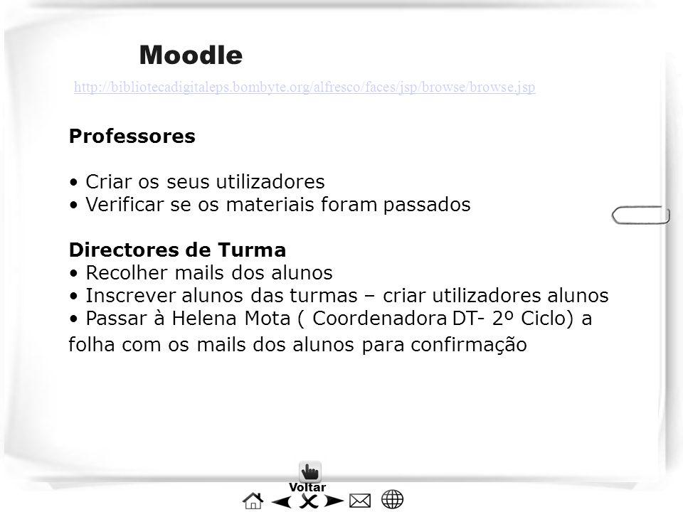 Moodle Professores Criar os seus utilizadores Verificar se os materiais foram passados Directores de Turma Recolher mails dos alunos Inscrever alunos