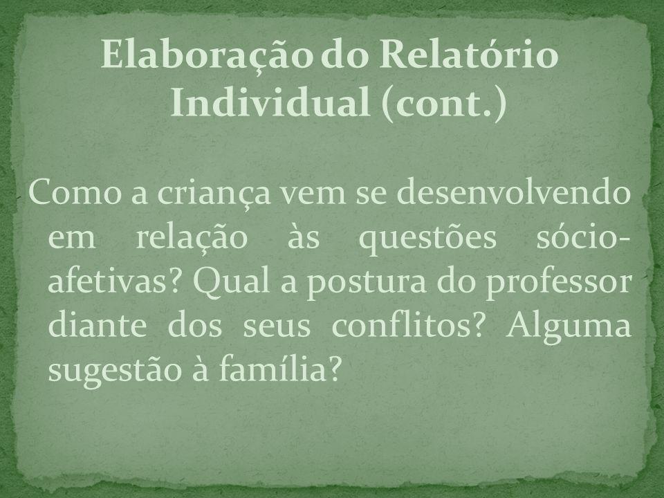 Elaboração do Relatório Individual (cont.) Como a criança vem se desenvolvendo em relação às questões sócio- afetivas? Qual a postura do professor dia