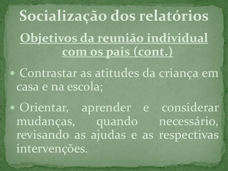 Socialização dos relatórios Objetivos da reunião individual com os pais (cont.) Contrastar as atitudes da criança em casa e na escola; Orientar, apren