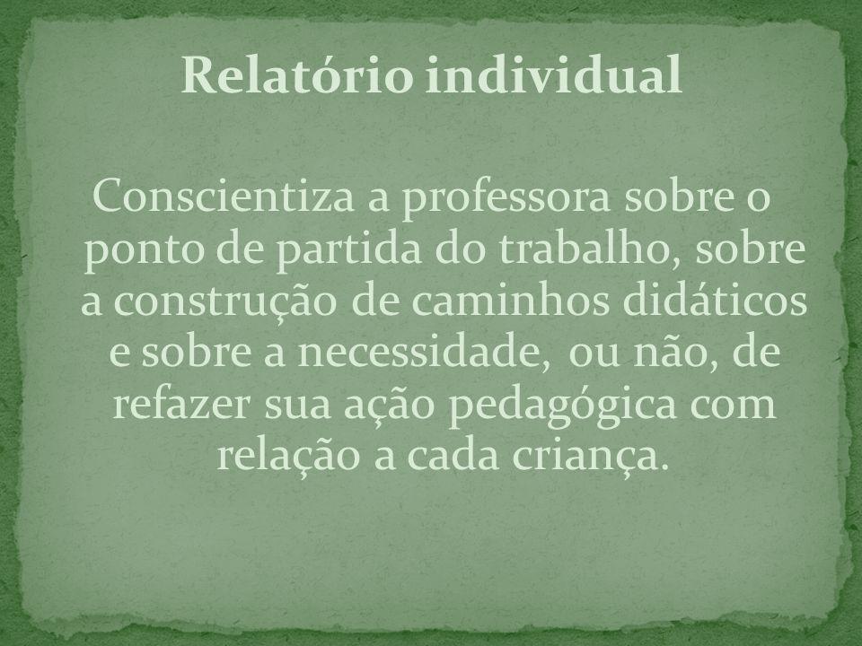 Relatório individual Conscientiza a professora sobre o ponto de partida do trabalho, sobre a construção de caminhos didáticos e sobre a necessidade, o