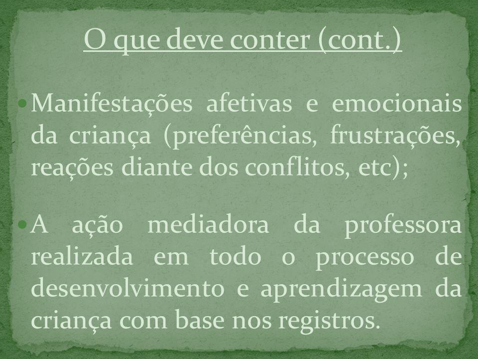 O que deve conter (cont.) Manifestações afetivas e emocionais da criança (preferências, frustrações, reações diante dos conflitos, etc); A ação mediad