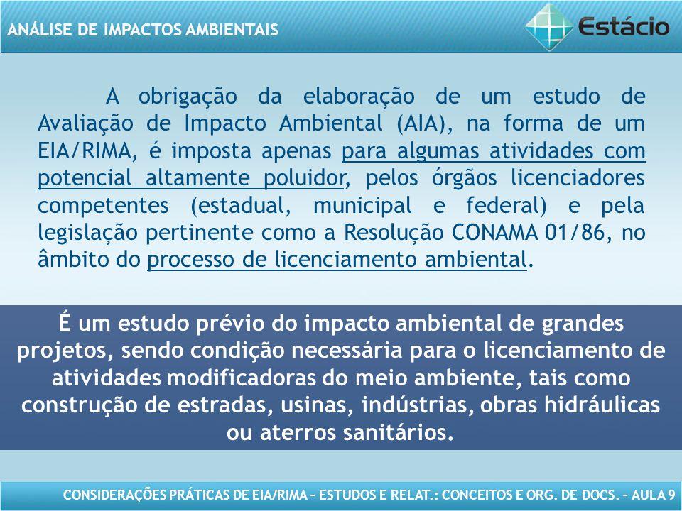 CONSIDERAÇÕES PRÁTICAS DE EIA/RIMA – ESTUDOS E RELAT.: CONCEITOS E ORG. DE DOCS. – AULA 9 ANÁLISE DE IMPACTOS AMBIENTAIS A obrigação da elaboração de