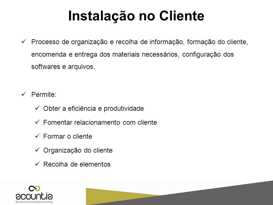 Instalação no Cliente Processo de organização e recolha de informação, formação do cliente, encomenda e entrega dos materiais necessários, configuração dos softwares e arquivos.