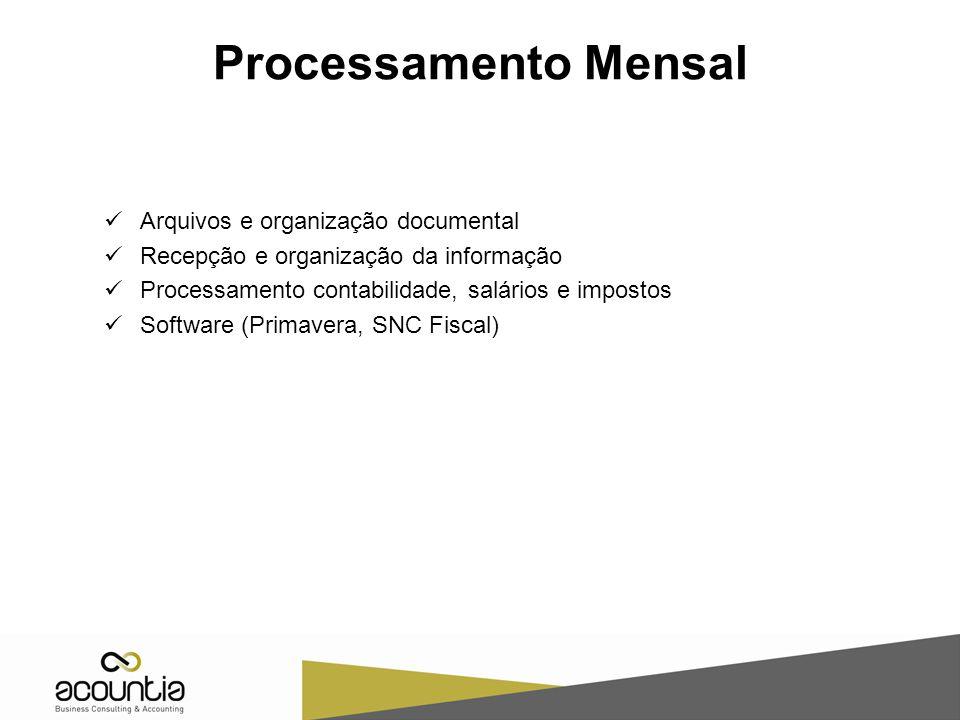 Processamento Mensal Arquivos e organização documental Recepção e organização da informação Processamento contabilidade, salários e impostos Software (Primavera, SNC Fiscal)