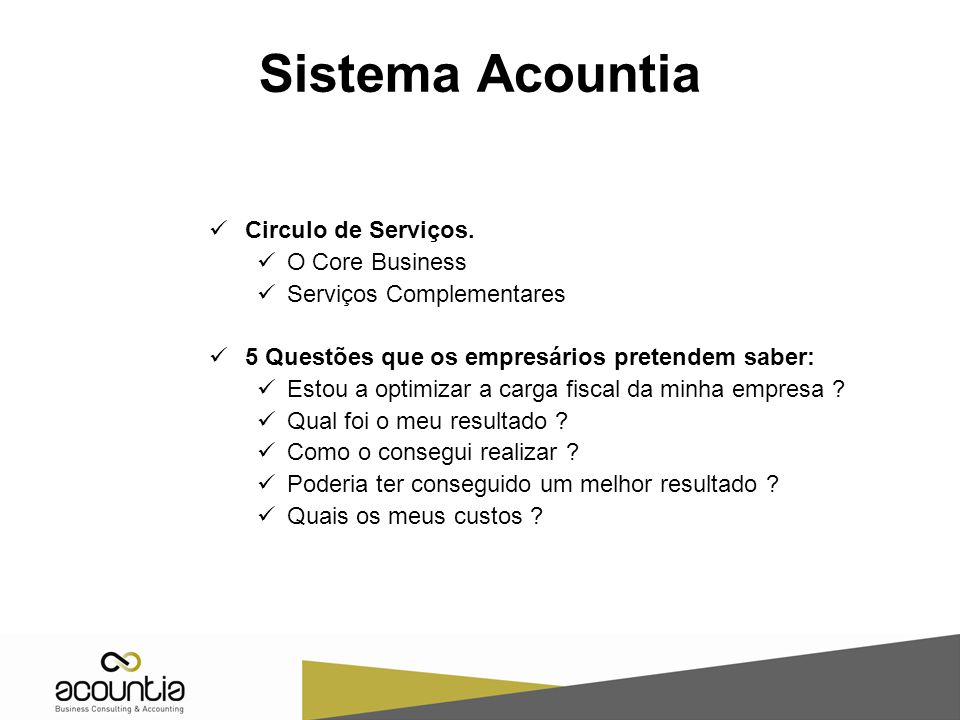 Sistema Acountia Circulo de Serviços.
