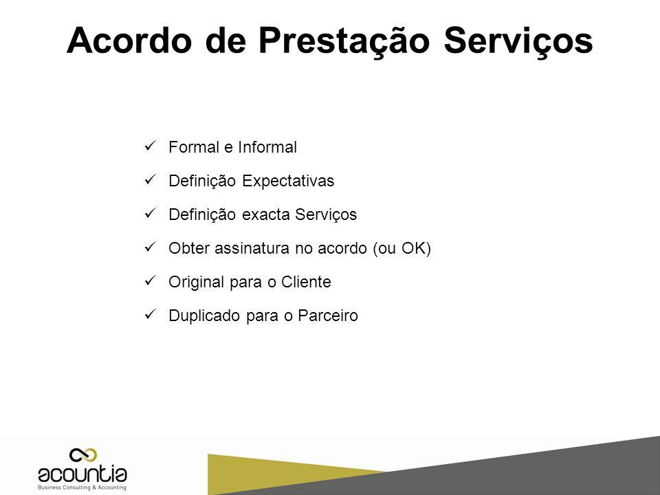 Acordo de Prestação Serviços Formal e Informal Definição Expectativas Definição exacta Serviços Obter assinatura no acordo (ou OK) Original para o Cliente Duplicado para o Parceiro