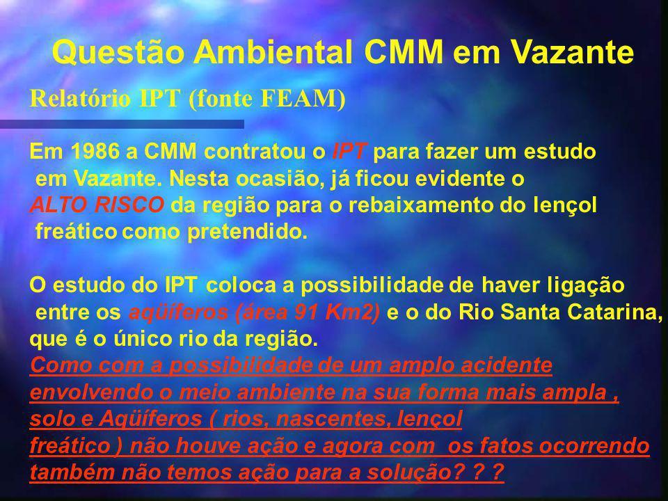 Questão Ambiental CMM em Vazante Relatório IPT (fonte FEAM) Em 1986 a CMM contratou o IPT para fazer um estudo em Vazante.