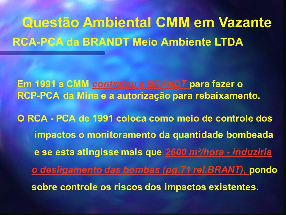 Questão Ambiental CMM em Vazante RCA-PCA da BRANDT Meio Ambiente LTDA Em 1991 a CMM contratou a BRANDT para fazer ocontratou a BRANDT RCP-PCA da Mina e a autorização para rebaixamento.