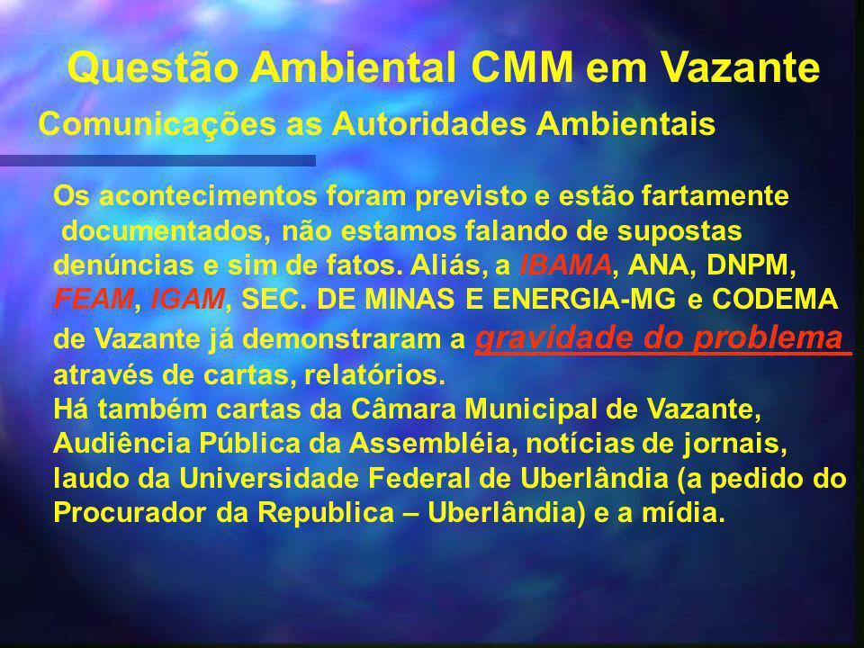 Questão Ambiental CMM em Vazante Acidentes Todos estes acontecimentos como por exemplo a elevação do bombeamento de 2000 m³/hora vazão para 7000m³/hora(FEAM), levaram a uma sucessão de acidentes.