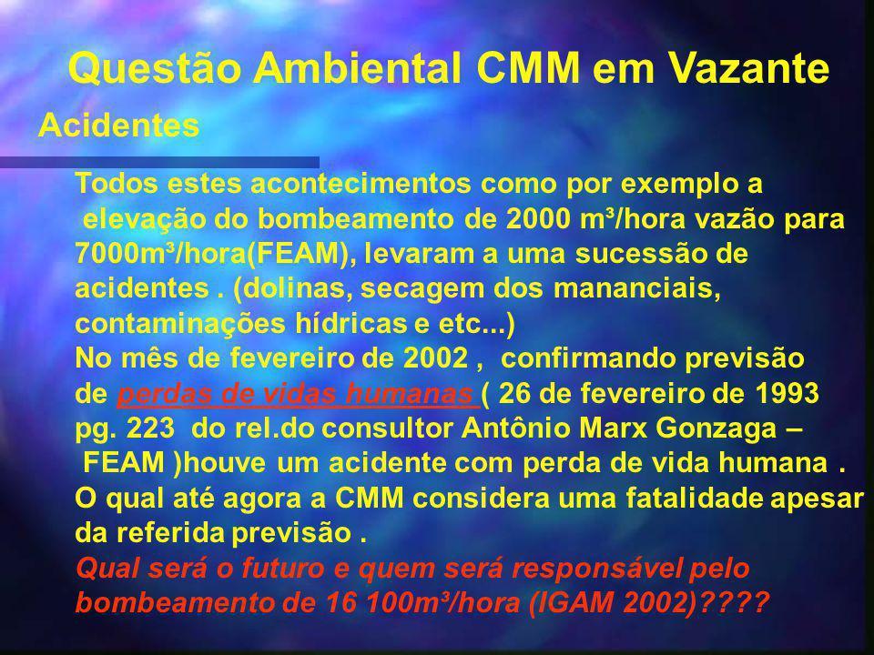 Questão Ambiental CMM em Vazante Financiamento a CMM pelo BNDES A lei ambiental é muito clara, e um dos princípios mais importantes é o principio da cautela, e este não está sendo sequer levado em consideração no financiamento do BNDES a CMM.financiamento do BNDES a CMM.