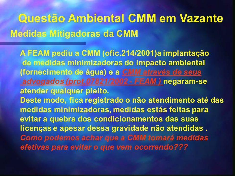 Questão Ambiental CMM em Vazante Medidas Mitigadoras da CMM A FEAM pediu a CMM (ofic.214/2001)a implantação de medidas minimizadoras do impacto ambiental (fornecimento de água) e a CMM através de seusCMM através de seus advogados (prot.07821/2002 - FEAM ) advogados (prot.07821/2002 - FEAM ) negaram-se atender qualquer pleito.