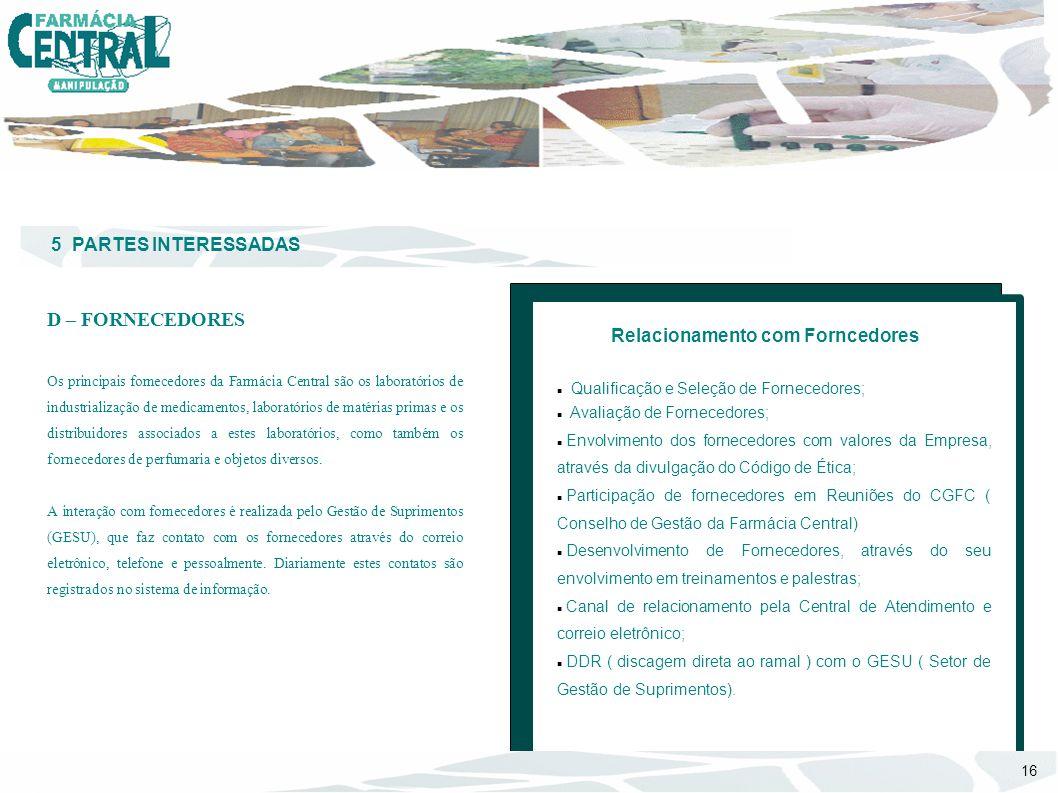 5 PARTES INTERESSADAS D – FORNECEDORES Os principais fornecedores da Farmácia Central são os laboratórios de industrialização de medicamentos, laborat
