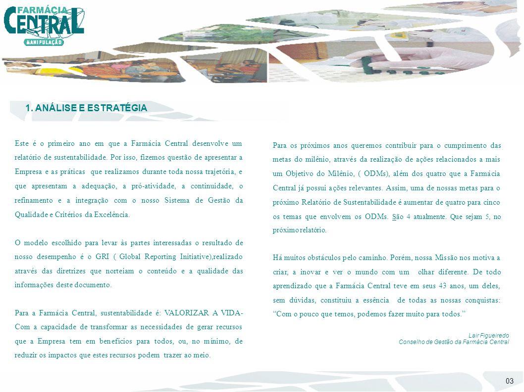 1. ANÁLISE E ESTRATÉGIA Este é o primeiro ano em que a Farmácia Central desenvolve um relatório de sustentabilidade. Por isso, fizemos questão de apre