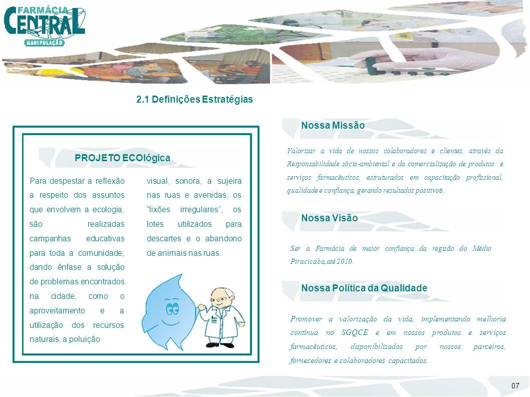 Valorizar a vida de nossos colaboradores e clientes, através da Responsabilidade sócio-ambiental e da comercialização de produtos e serviços farmacêut