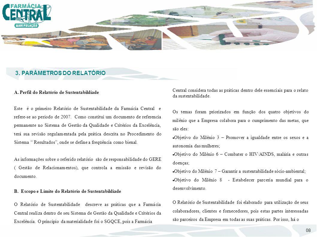 3. PARÂMETROS DO RELATÓRIO A. Perfil do Relatório de Sustentabildiade Este é o primeiro Relatório de Sustentabilidade da Farmácia Central e refere-se