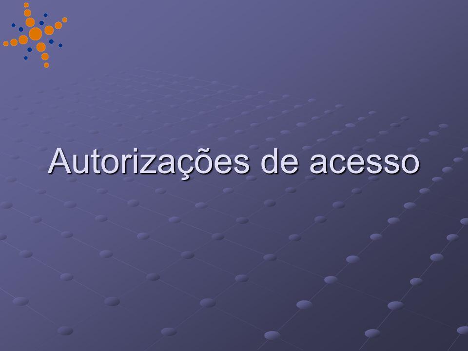 Autorizações de acesso