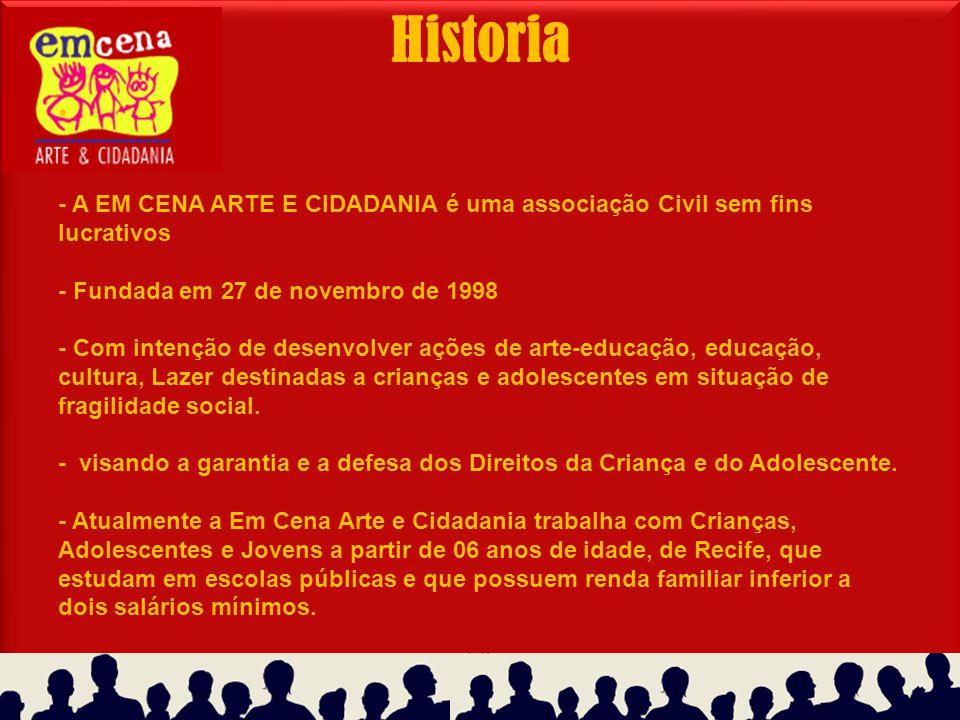 Historia - A EM CENA ARTE E CIDADANIA é uma associação Civil sem fins lucrativos - Fundada em 27 de novembro de 1998 - Com intenção de desenvolver açõ