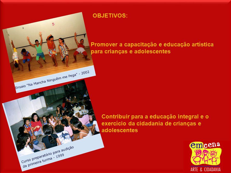OBJETIVOS: Promover a capacitação e educação artística para crianças e adolescentes Contribuir para a educação integral e o exercício da cidadania de crianças e adolescentes