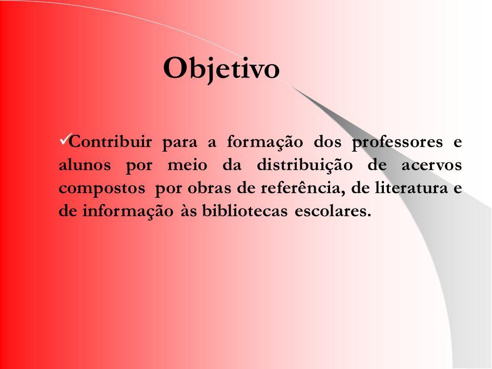 Objetivo Contribuir para a formação dos professores e alunos por meio da distribuição de acervos compostos por obras de referência, de literatura e de informação às bibliotecas escolares.