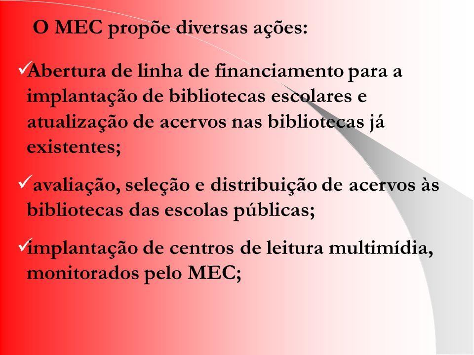 O MEC propõe diversas ações: Abertura de linha de financiamento para a implantação de bibliotecas escolares e atualização de acervos nas bibliotecas já existentes; avaliação, seleção e distribuição de acervos às bibliotecas das escolas públicas; implantação de centros de leitura multimídia, monitorados pelo MEC;