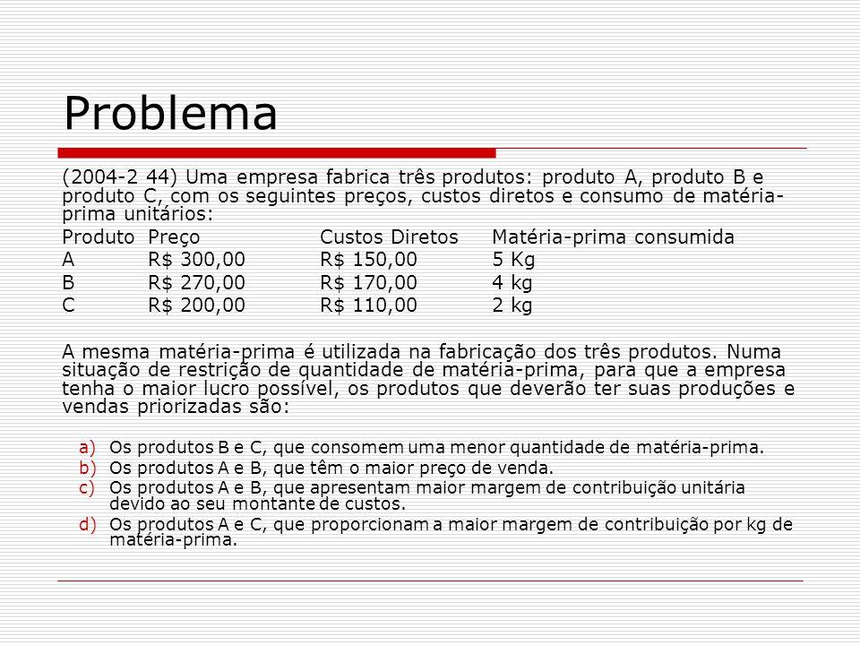 (2004-2 44) Uma empresa fabrica três produtos: produto A, produto B e produto C, com os seguintes preços, custos diretos e consumo de matéria- prima unitários: ProdutoPreçoCustos DiretosMatéria-prima consumida AR$ 300,00R$ 150,005 Kg BR$ 270,00R$ 170,004 kg CR$ 200,00R$ 110,002 kg A mesma matéria-prima é utilizada na fabricação dos três produtos.