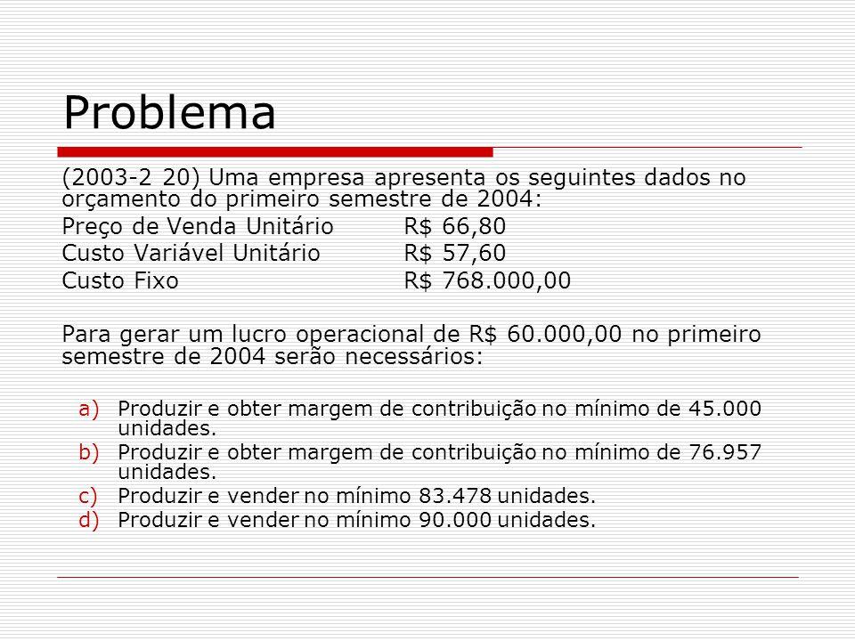 (2003-2 20) Uma empresa apresenta os seguintes dados no orçamento do primeiro semestre de 2004: Preço de Venda UnitárioR$ 66,80 Custo Variável UnitárioR$ 57,60 Custo FixoR$ 768.000,00 Para gerar um lucro operacional de R$ 60.000,00 no primeiro semestre de 2004 serão necessários: a)Produzir e obter margem de contribuição no mínimo de 45.000 unidades.