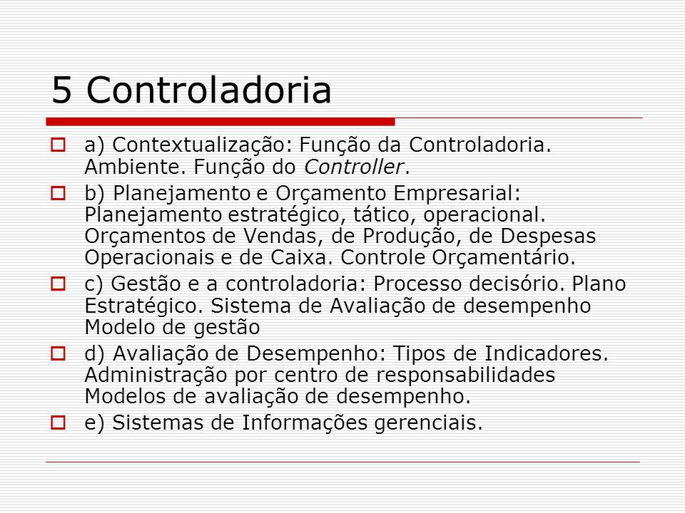 5 Controladoria  a) Contextualização: Função da Controladoria.