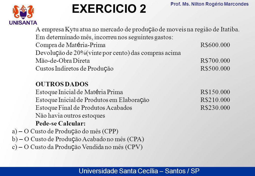 Universidade Santa Cecília – Santos / SP Prof. Ms. Nilton Rogério Marcondes A empresa Kytu atua no mercado de produ ç ão de moveis na região de Itatib