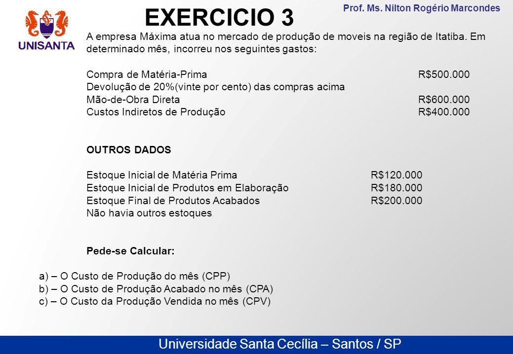 Universidade Santa Cecília – Santos / SP Prof. Ms. Nilton Rogério Marcondes A empresa Máxima atua no mercado de produção de moveis na região de Itatib