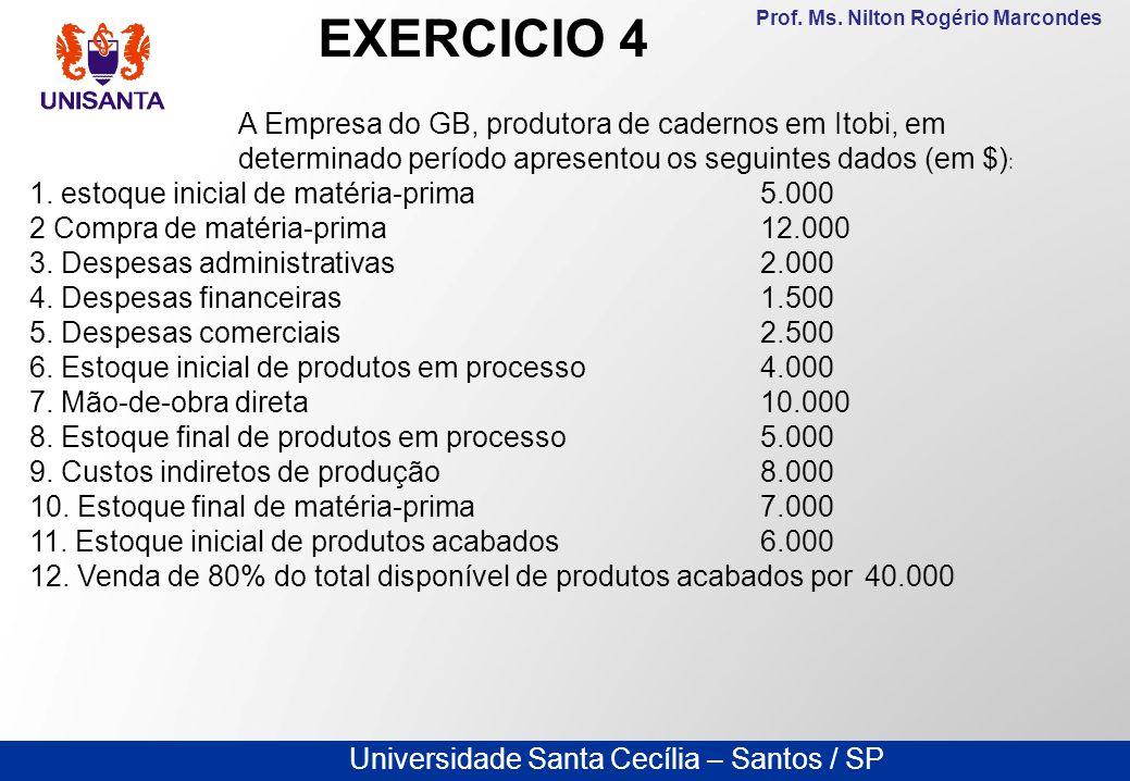 Universidade Santa Cecília – Santos / SP Prof. Ms. Nilton Rogério Marcondes A Empresa do GB, produtora de cadernos em Itobi, em determinado período ap
