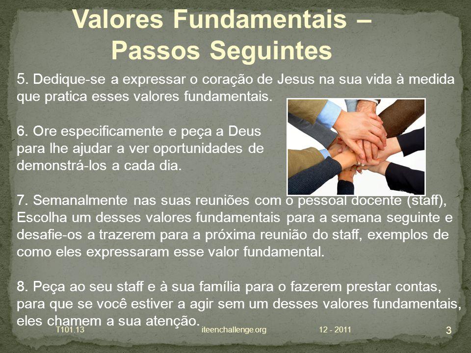 5. Dedique-se a expressar o coração de Jesus na sua vida à medida que pratica esses valores fundamentais. 6. Ore especificamente e peça a Deus para lh