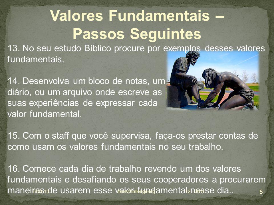 13. No seu estudo Bíblico procure por exemplos desses valores fundamentais.