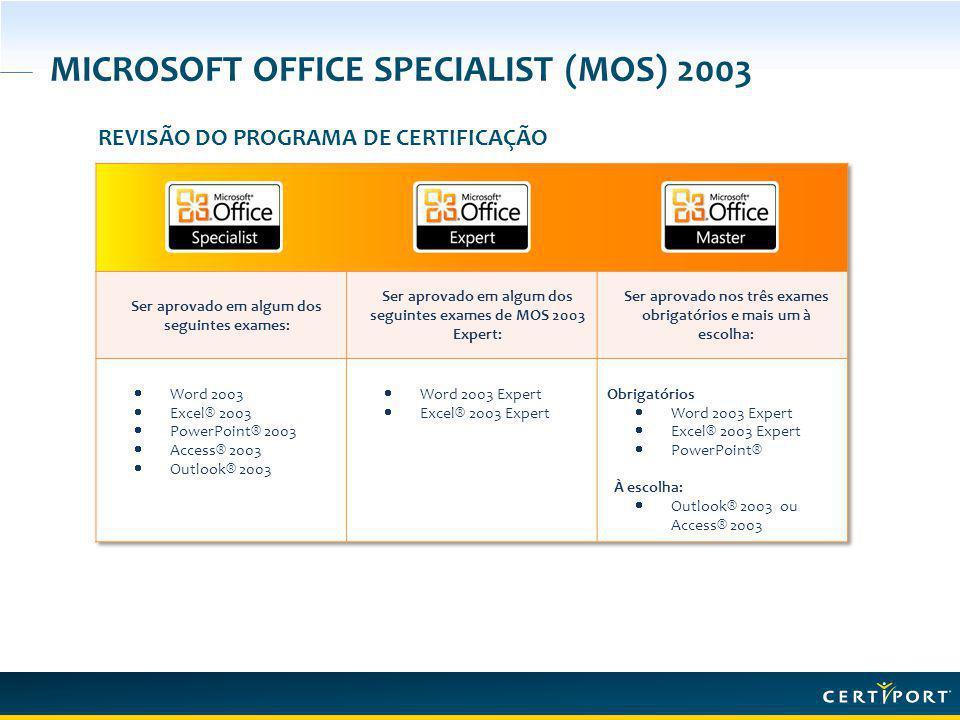 MICROSOFT OFFICE SPECIALIST (MOS) 2003 REVISÃO DO PROGRAMA DE CERTIFICAÇÃO