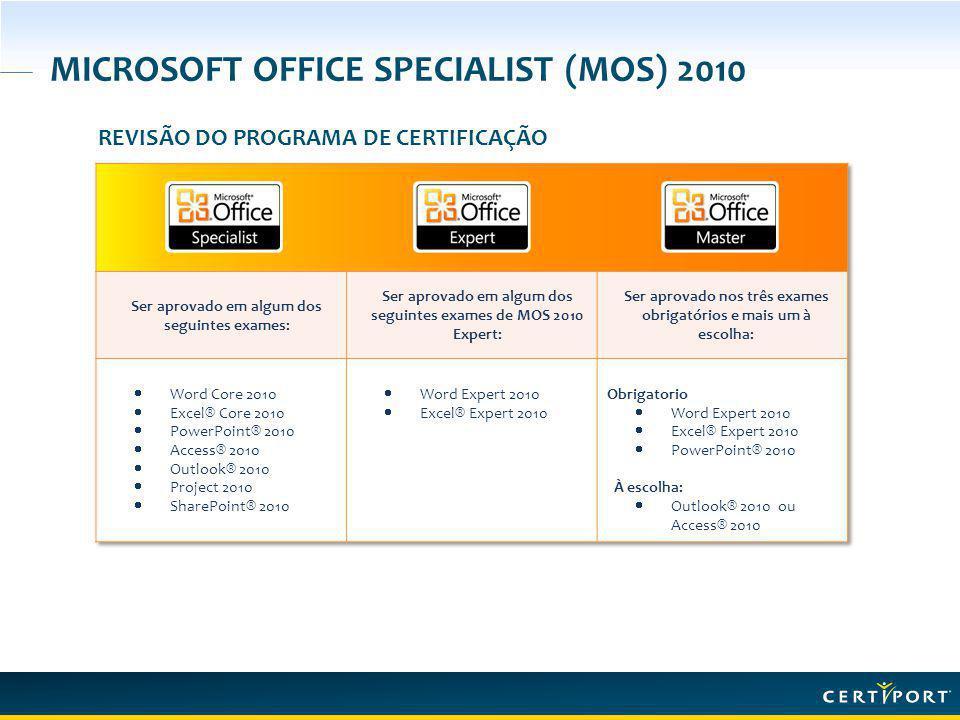MICROSOFT OFFICE SPECIALIST (MOS) 2010 REVISÃO DO PROGRAMA DE CERTIFICAÇÃO