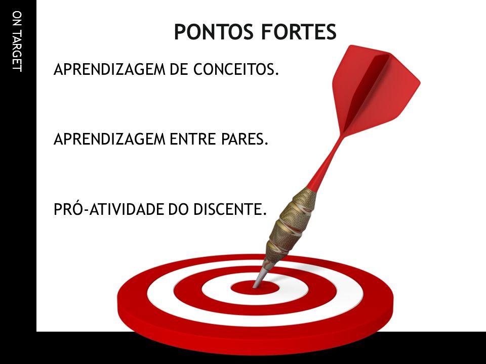 PONTOS FORTES APRENDIZAGEM DE CONCEITOS. APRENDIZAGEM ENTRE PARES. PRÓ-ATIVIDADE DO DISCENTE.