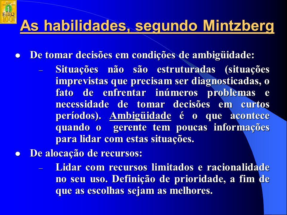 As habilidades, segundo Mintzberg De resolução de conflitos: De resolução de conflitos: – Habilidade interpessoal de arbitrar conflitos entre pessoas e de tomar decisões para resolver distúrbios.