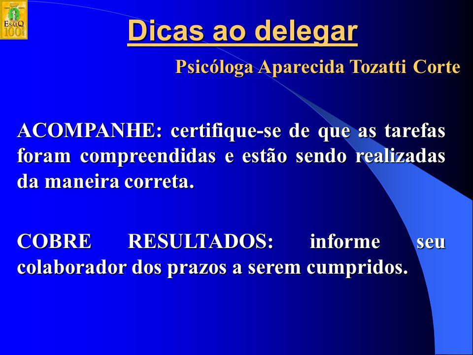 Dicas ao delegar Psicóloga Aparecida Tozatti Corte DELEGUE: não queira fazer tudo sozinho.