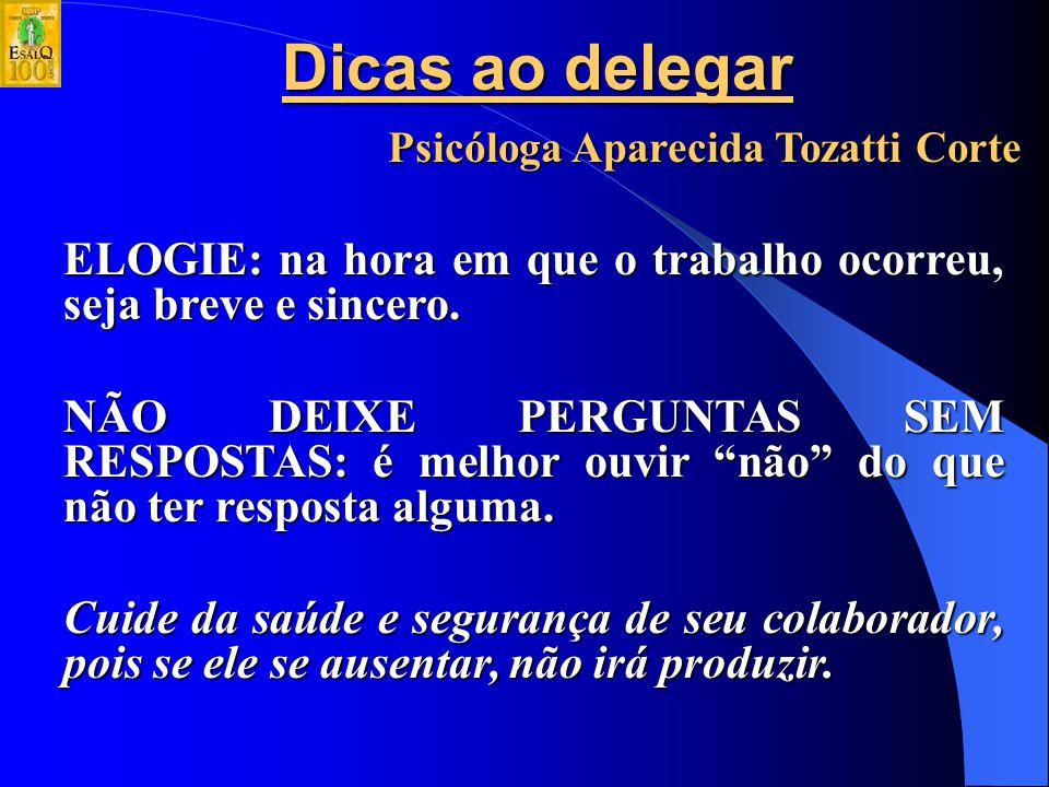 Dicas ao delegar Psicóloga Aparecida Tozatti Corte COMPROMETA-SE COM RESULTADOS: mostre como o trabalho dele é importante dentro do todo, fale dos prazos, das exigências do mercado, da concorrência.